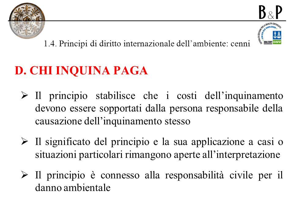1.4. Principi di diritto internazionale dellambiente: cenni D. CHI INQUINA PAGA Il principio stabilisce che i costi dellinquinamento devono essere sop