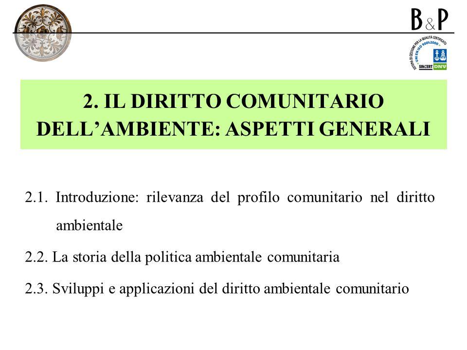 2. IL DIRITTO COMUNITARIO DELLAMBIENTE: ASPETTI GENERALI 2.1. Introduzione: rilevanza del profilo comunitario nel diritto ambientale 2.2. La storia de