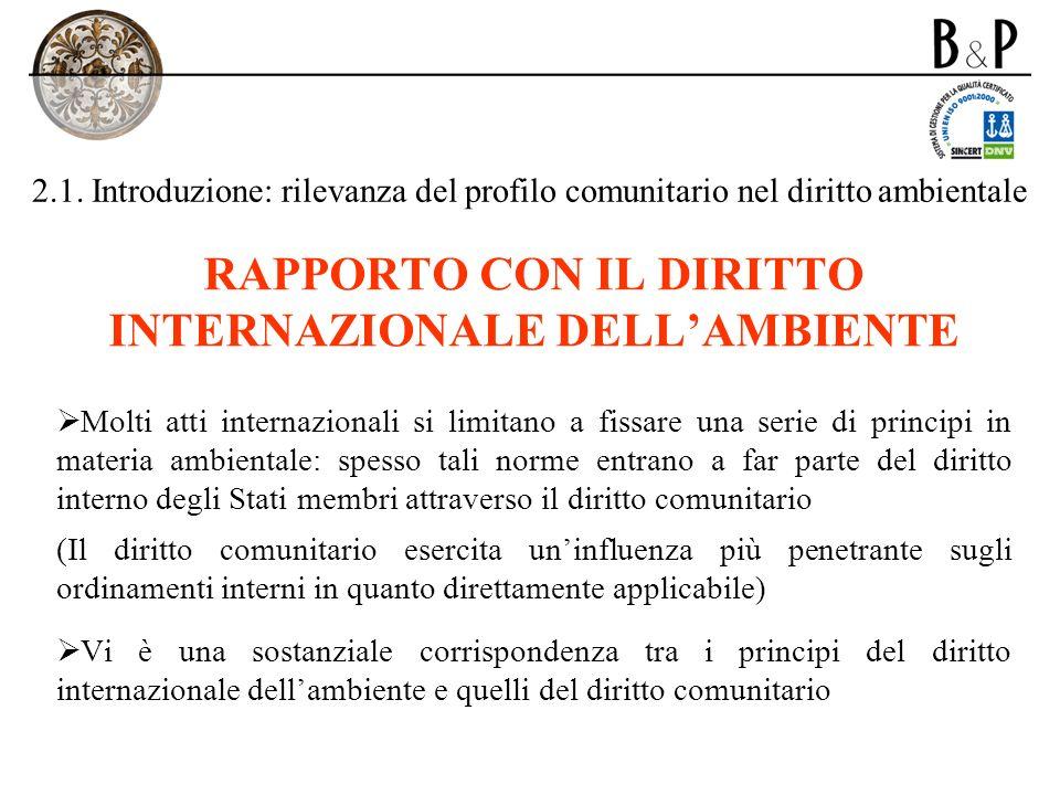 2.1. Introduzione: rilevanza del profilo comunitario nel diritto ambientale RAPPORTO CON IL DIRITTO INTERNAZIONALE DELLAMBIENTE Molti atti internazion
