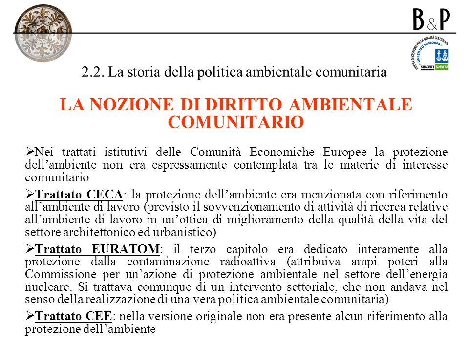 2.2. La storia della politica ambientale comunitaria LA NOZIONE DI DIRITTO AMBIENTALE COMUNITARIO Nei trattati istitutivi delle Comunità Economiche Eu