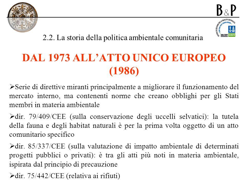2.2. La storia della politica ambientale comunitaria DAL 1973 ALLATTO UNICO EUROPEO (1986) Serie di direttive miranti principalmente a migliorare il f