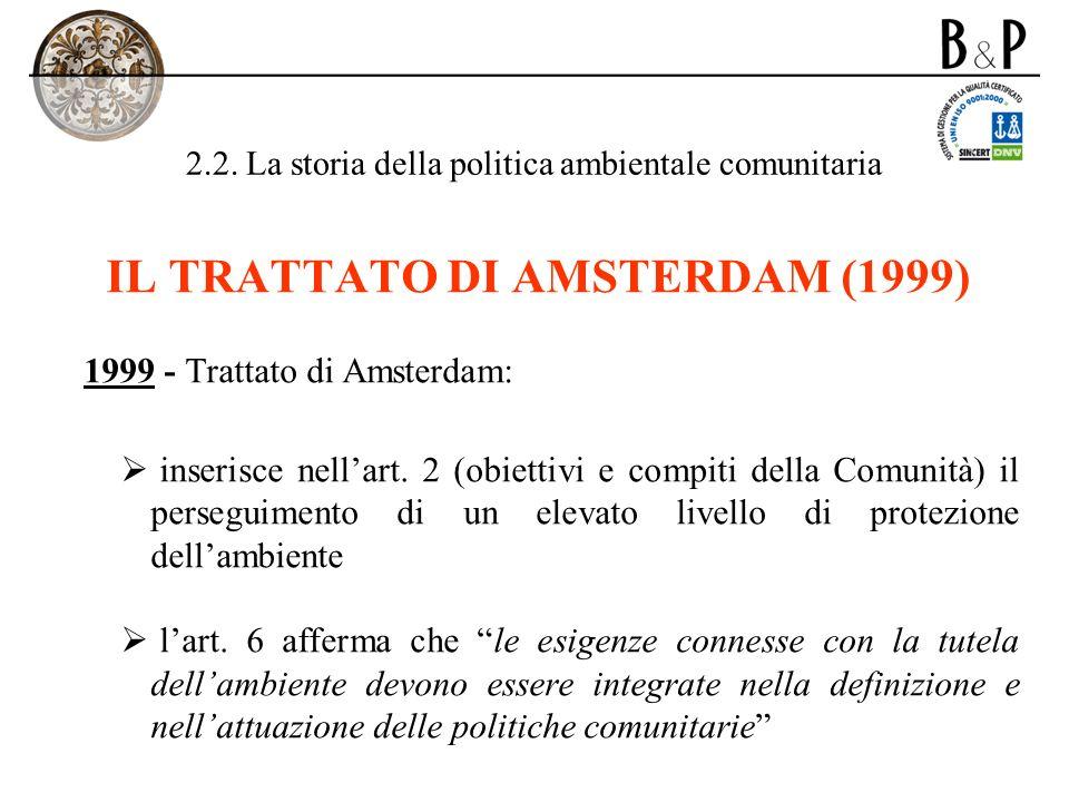 2.2. La storia della politica ambientale comunitaria IL TRATTATO DI AMSTERDAM (1999) 1999 - Trattato di Amsterdam: inserisce nellart. 2 (obiettivi e c