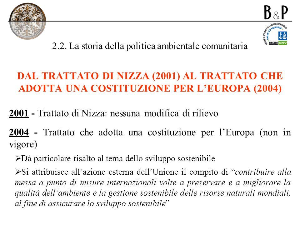 2.2. La storia della politica ambientale comunitaria DAL TRATTATO DI NIZZA (2001) AL TRATTATO CHE ADOTTA UNA COSTITUZIONE PER LEUROPA (2004) 2001 - Tr
