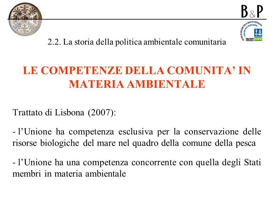 2.2. La storia della politica ambientale comunitaria LE COMPETENZE DELLA COMUNITA IN MATERIA AMBIENTALE Trattato di Lisbona (2007): - lUnione ha compe