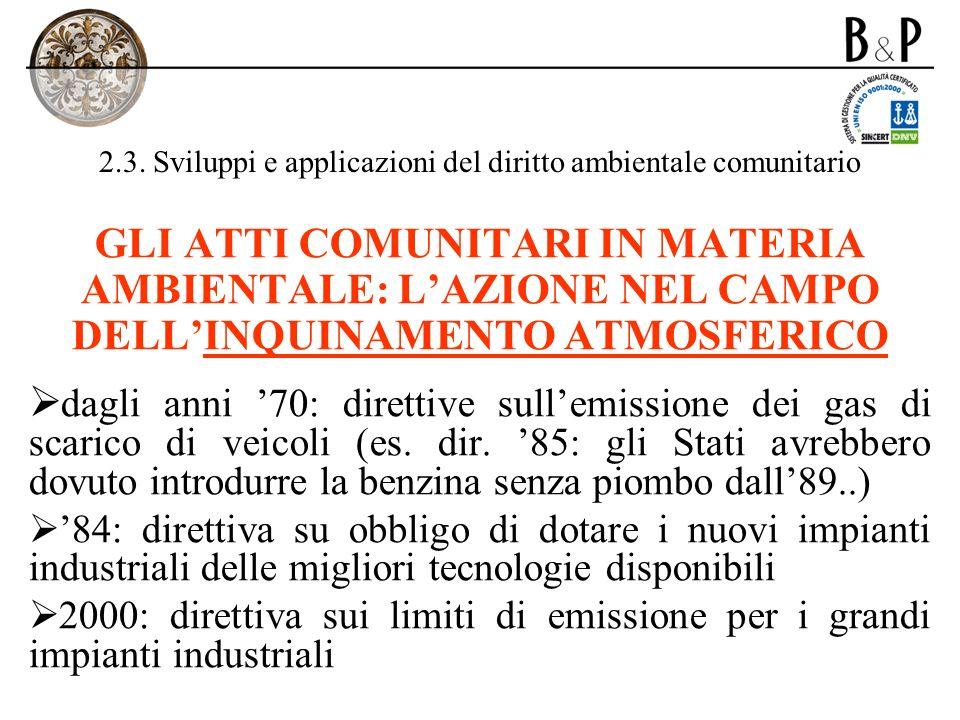 2.3. Sviluppi e applicazioni del diritto ambientale comunitario GLI ATTI COMUNITARI IN MATERIA AMBIENTALE: LAZIONE NEL CAMPO DELLINQUINAMENTO ATMOSFER