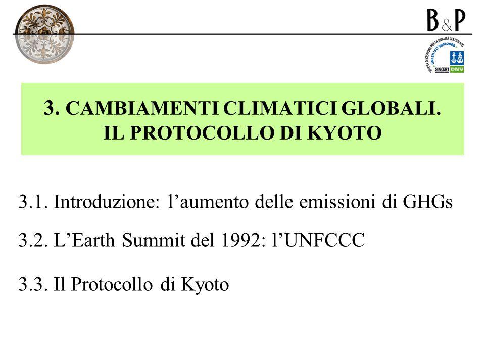 3. CAMBIAMENTI CLIMATICI GLOBALI. IL PROTOCOLLO DI KYOTO 3.1. Introduzione: laumento delle emissioni di GHGs 3.2. LEarth Summit del 1992: lUNFCCC 3.3.