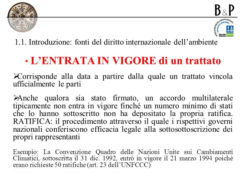 1.4.Principi di diritto internazionale dellambiente: cenni C.