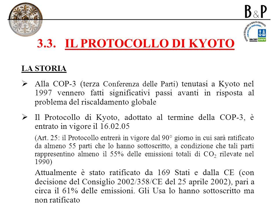 3.3.IL PROTOCOLLO DI KYOTO LA STORIA Alla COP-3 (terza Conferenza delle Parti) tenutasi a Kyoto nel 1997 vennero fatti significativi passi avanti in r
