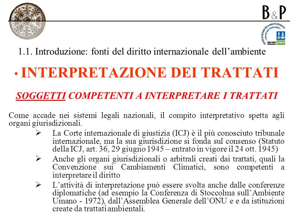 1.1.Introduzione: fonti del diritto internazionale dellambiente B.