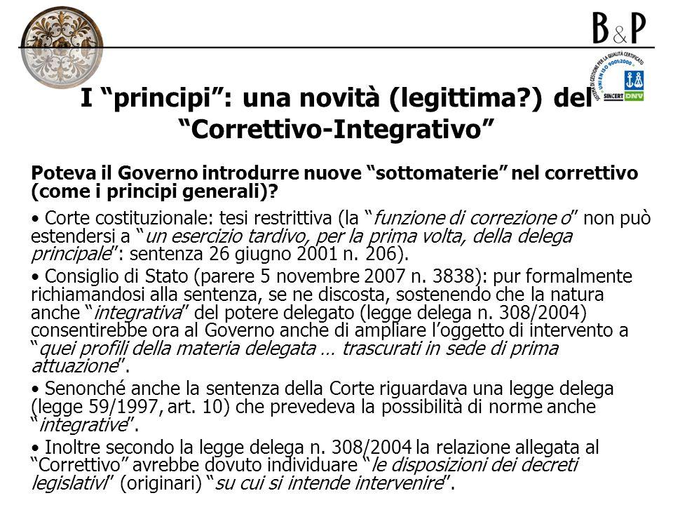 I principi: una novità (legittima?) del Correttivo-Integrativo Poteva il Governo introdurre nuove sottomaterie nel correttivo (come i principi general