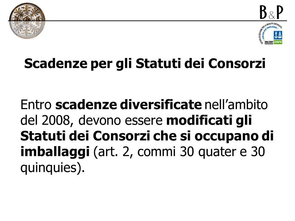 Scadenze per gli Statuti dei Consorzi Entro scadenze diversificate nellambito del 2008, devono essere modificati gli Statuti dei Consorzi che si occup