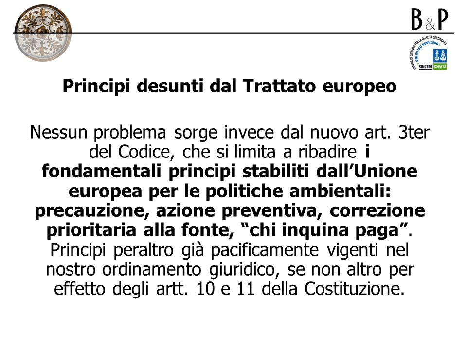 Principi desunti dal Trattato europeo Nessun problema sorge invece dal nuovo art. 3ter del Codice, che si limita a ribadire i fondamentali principi st