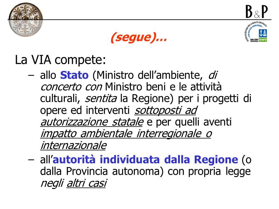 (segue)… La VIA compete: –allo Stato (Ministro dellambiente, di concerto con Ministro beni e le attività culturali, sentita la Regione) per i progetti