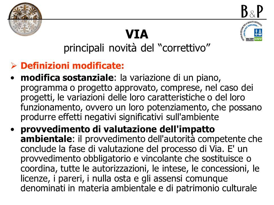 VIA principali novità del correttivo Definizioni modificate: modifica sostanziale: la variazione di un piano, programma o progetto approvato, comprese