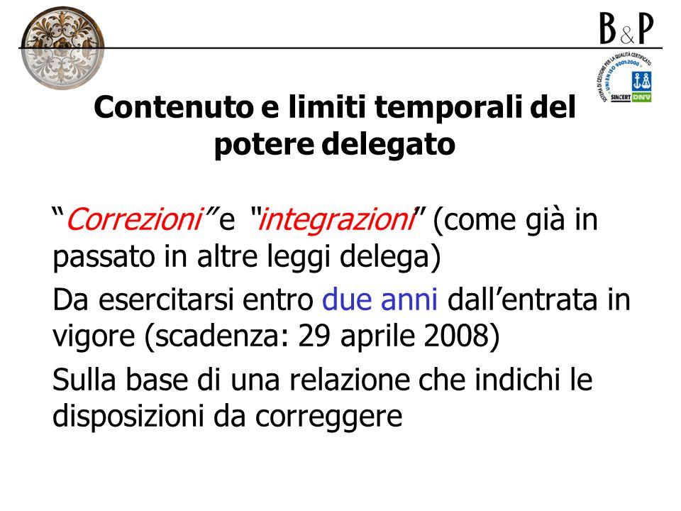 Contenuto e limiti temporali del potere delegato Correzioni e integrazioni (come già in passato in altre leggi delega) Da esercitarsi entro due anni d