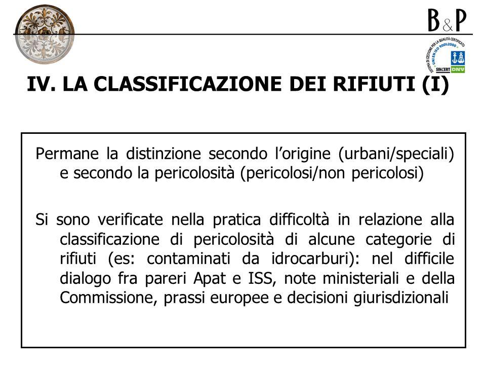 IV. LA CLASSIFICAZIONE DEI RIFIUTI (I) Permane la distinzione secondo lorigine (urbani/speciali) e secondo la pericolosità (pericolosi/non pericolosi)