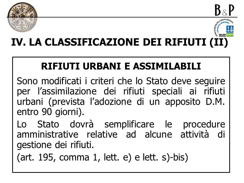 IV. LA CLASSIFICAZIONE DEI RIFIUTI (II) RIFIUTI URBANI E ASSIMILABILI Sono modificati i criteri che lo Stato deve seguire per lassimilazione dei rifiu