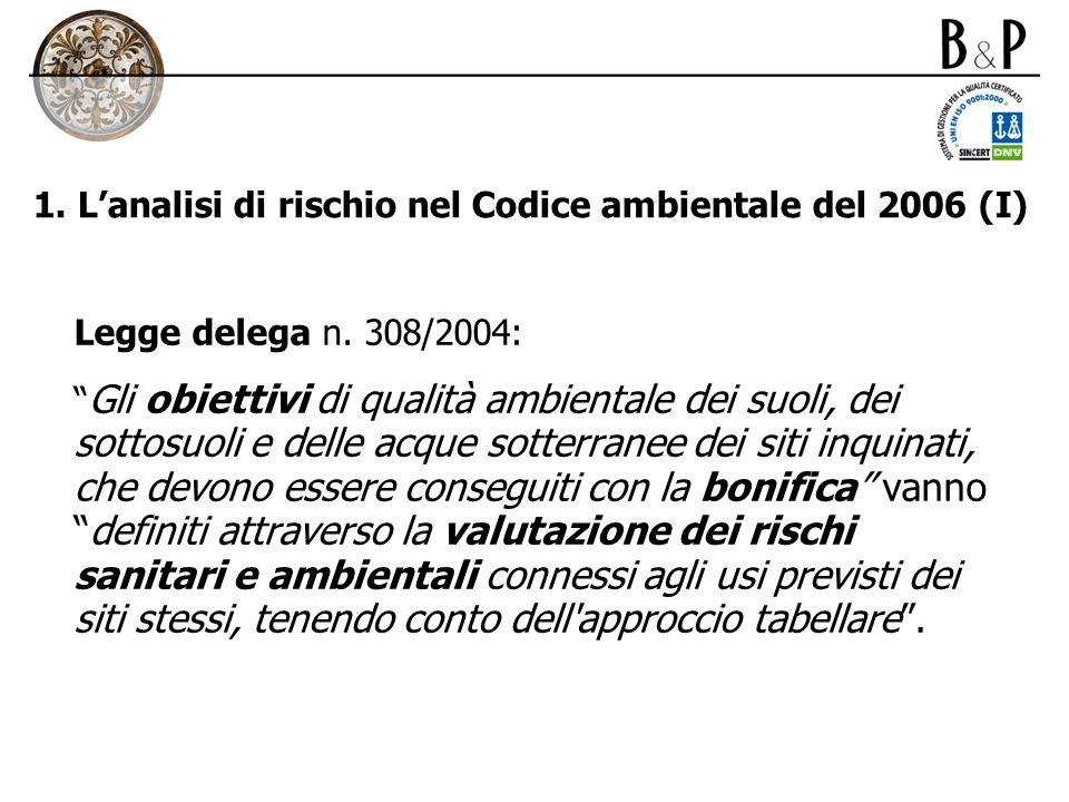 1. Lanalisi di rischio nel Codice ambientale del 2006 (I) Legge delega n. 308/2004: Gli obiettivi di qualità ambientale dei suoli, dei sottosuoli e de