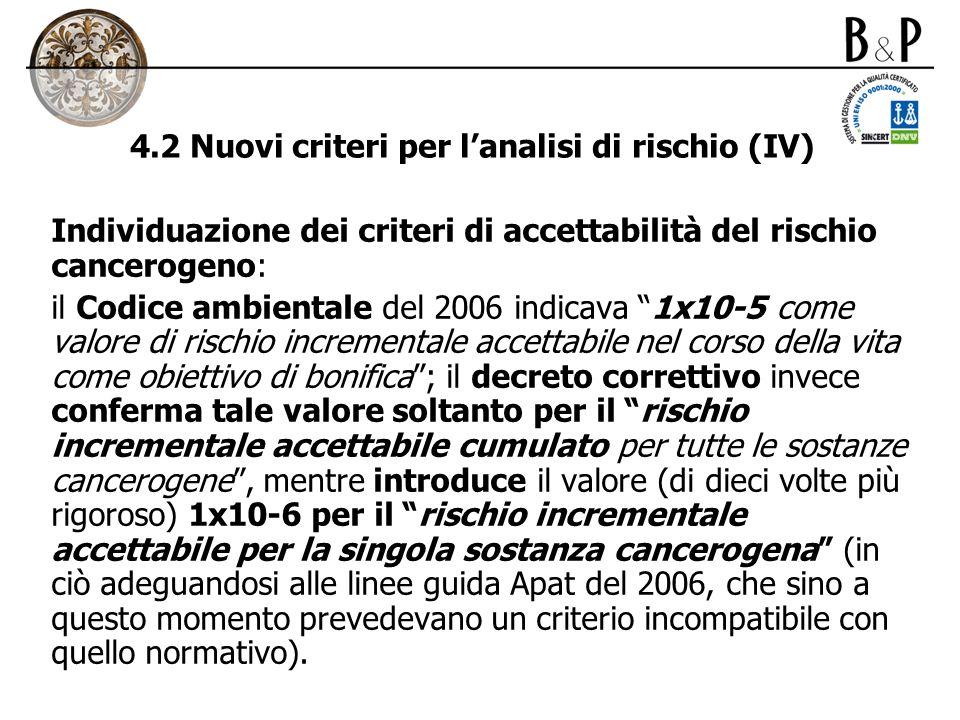 4.2 Nuovi criteri per lanalisi di rischio (IV) Individuazione dei criteri di accettabilità del rischio cancerogeno: il Codice ambientale del 2006 indi