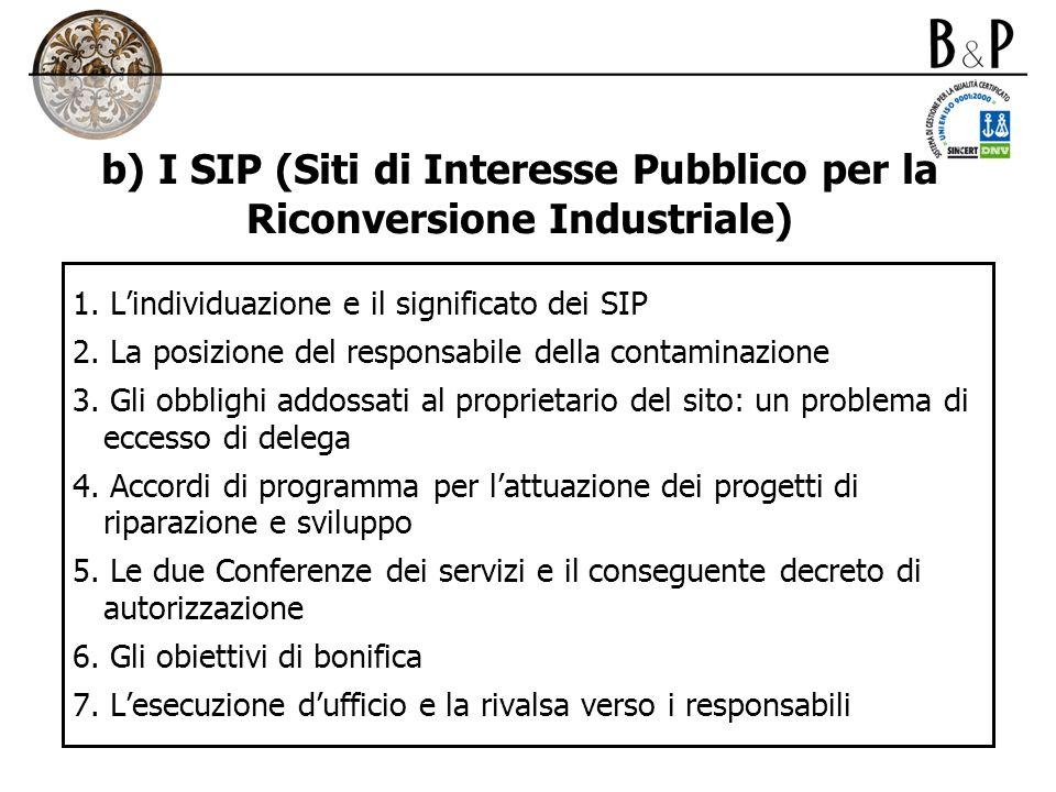 b) I SIP (Siti di Interesse Pubblico per la Riconversione Industriale) 1. Lindividuazione e il significato dei SIP 2. La posizione del responsabile de