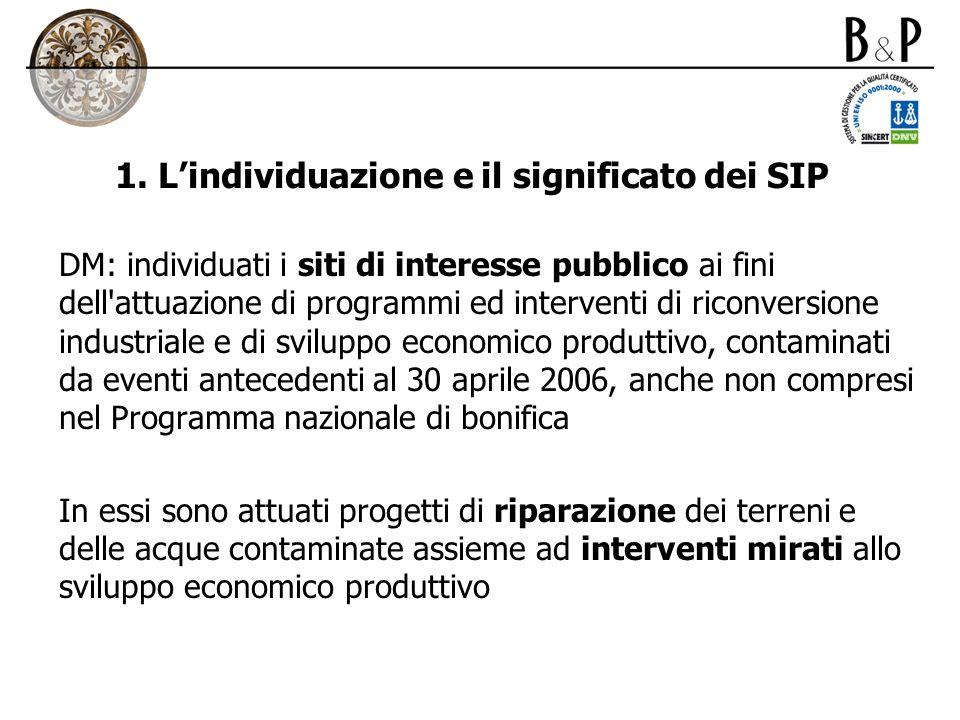 1. Lindividuazione e il significato dei SIP DM: individuati i siti di interesse pubblico ai fini dell'attuazione di programmi ed interventi di riconve