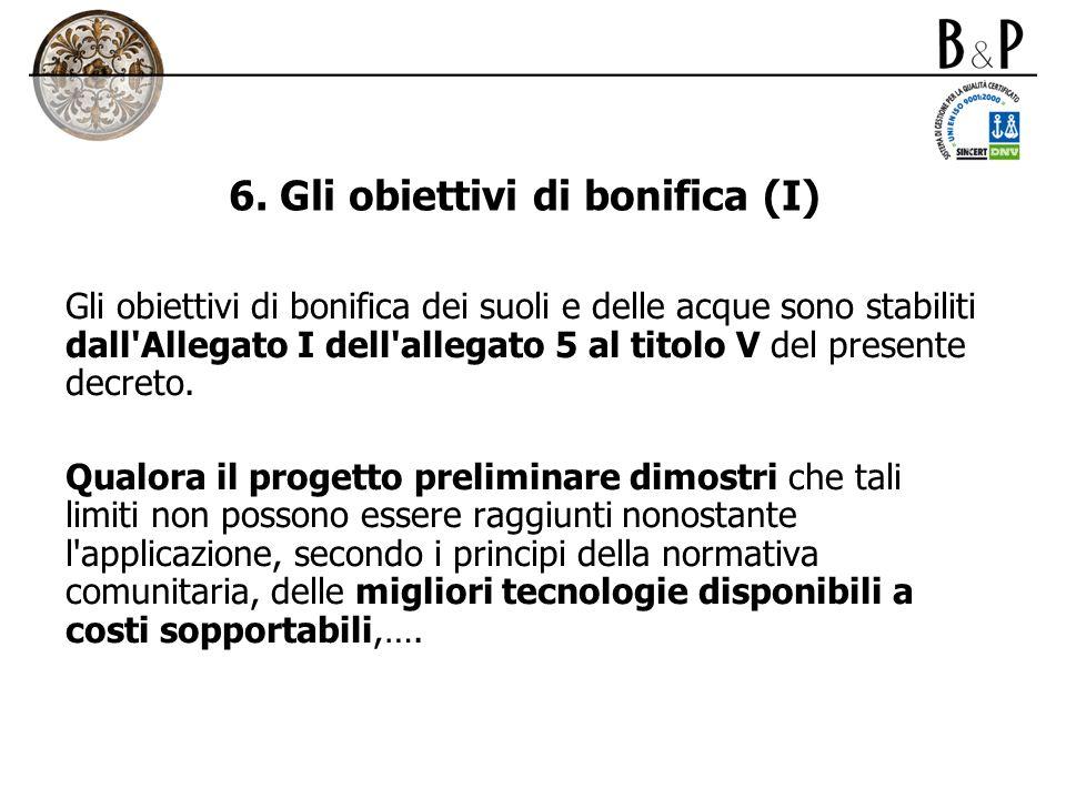 6. Gli obiettivi di bonifica (I) Gli obiettivi di bonifica dei suoli e delle acque sono stabiliti dall'Allegato I dell'allegato 5 al titolo V del pres
