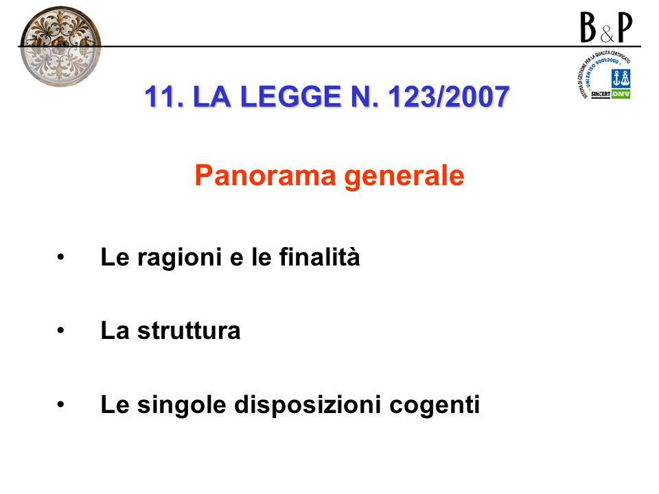 11. LE RECENTI NOVITA LEGISLATIVE: la legge n. 123/2007