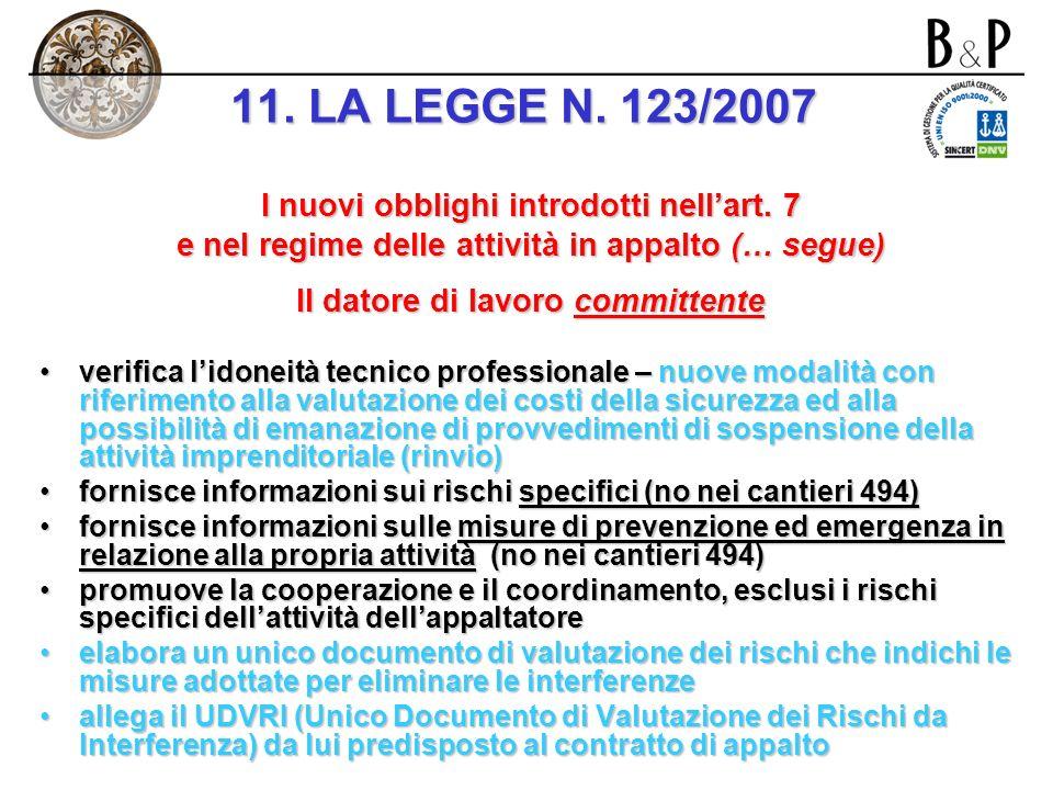 Campo di applicazione dellart. 7 Lart. 7 si applica in caso di affidamento da parte del committente di lavori ad imprese appaltatrici o a lavoratori a