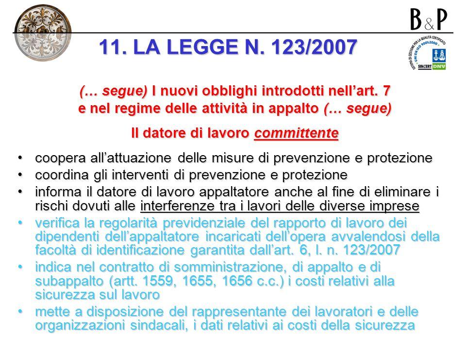 I nuovi obblighi introdotti nellart. 7 e nel regime delle attività in appalto (… segue) Il datore di lavoro committente verifica lidoneità tecnico pro