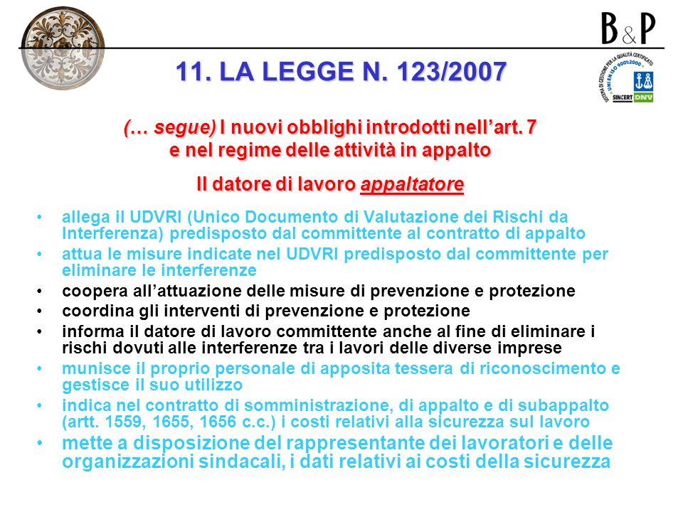 (… segue) I nuovi obblighi introdotti nellart. 7 e nel regime delle attività in appalto (… segue) Il datore di lavoro committente coopera allattuazion