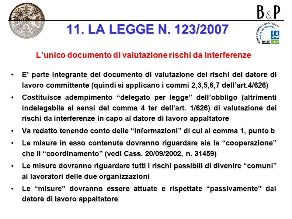 (… segue) I nuovi obblighi introdotti nellart. 7 e nel regime delle attività in appalto Il datore di lavoro appaltatore allega il UDVRI (Unico Documen
