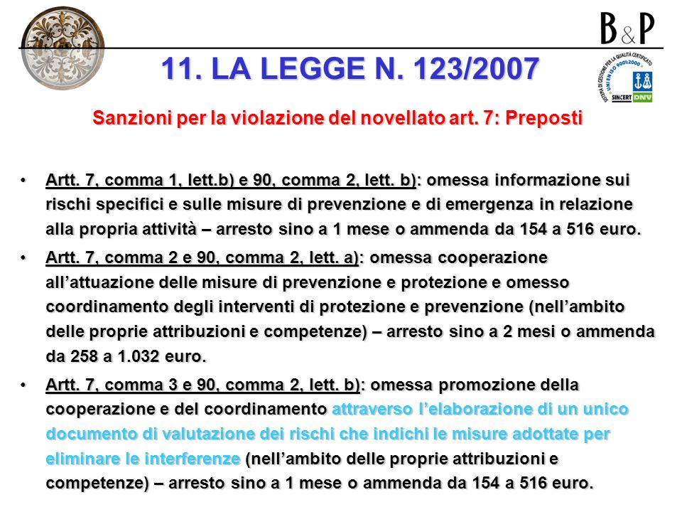 Sanzioni per la violazione del novellato art. 7: Datori di lavoro e dirigenti art. 7, comma 1 e 89, comma 2, lett. b): omessa verifica dellidoneità te