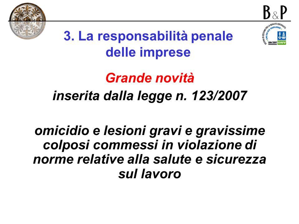 3. La responsabilità penale delle imprese Condizioni per la configurazione della responsabilità di impresa ai sensi del d. lgs. n. 231/01: 1)soggetto