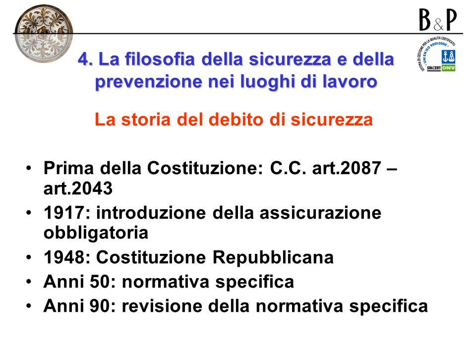 4. LA FILOSOFIA DELLA SICUREZZA E DELLA PREVENZIONE E DELLA PREVENZIONE NEI LUOGHI DI LAVORO