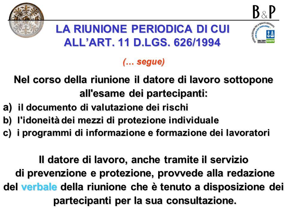 LA RIUNIONE PERIODICA DI CUI ALLART. 11 D.LGS. 626/1994 Il datore di lavoro, direttamente o tramite il servizio di prevenzione e protezione indice alm