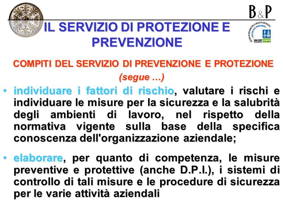 IL SERVIZIO DI PROTEZIONE E PREVENZIONE CAPACITA E REQUISITI DEI COMPONENTI DEL SERVIZIO adeguati alla natura dei rischi e relativi alle attività lavo