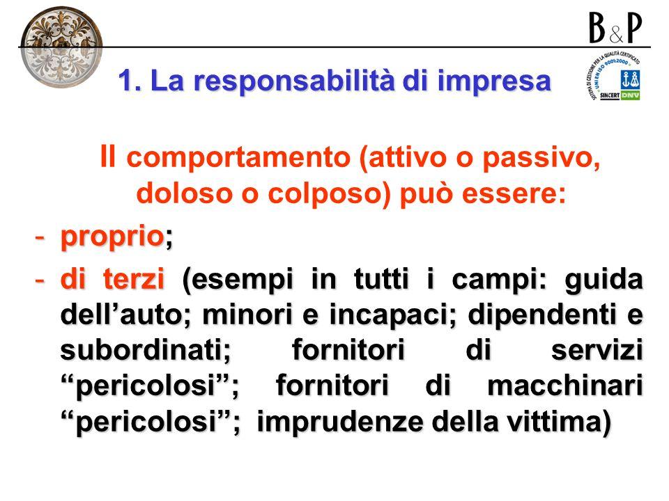 1. La responsabilità di impresa Il comportamento (attivo o passivo) può essere: - doloso (esempio: disattivare una protezione); - colposo (esempio: di