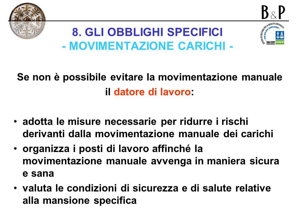8. GLI OBBLIGHI SPECIFICI - MOVIMENTAZIONE CARICHI - Capo VIII – titolo V – d.lgs. n. 626/1994 Il datore di lavoro deve adottare le misure organizzati