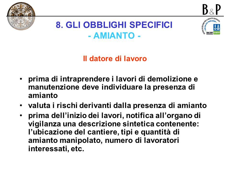 8. GLI OBBLIGHI SPECIFICI - AMIANTO - Capo VIII – titolo VI bis – d.lgs. n. 626/1994 Il lavori di demolizione e manutenzione di opere contenenti amian