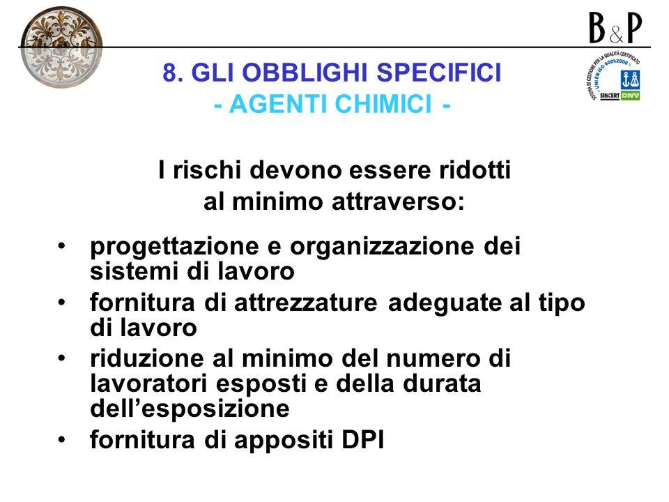 8. GLI OBBLIGHI SPECIFICI - AGENTI CHIMICI - Capo VIII – titolo VII bis – d.lgs. n. 626/1994 Nellambito della valutazione dei rischi, il datore di lav