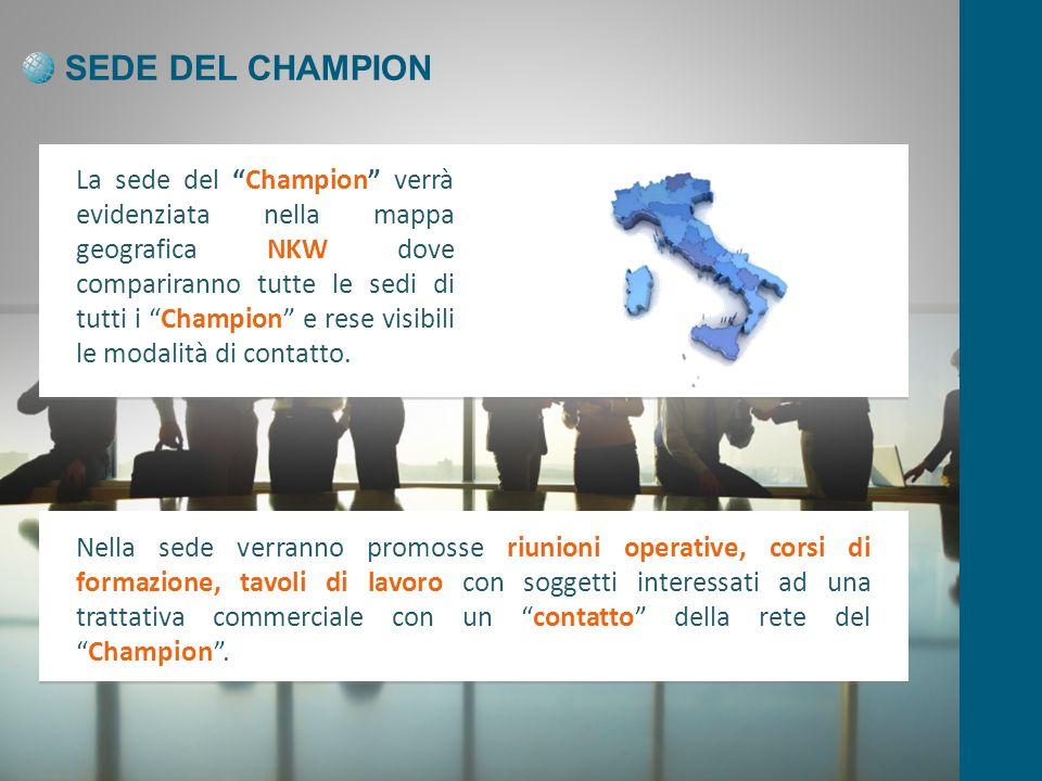 SEDE DEL CHAMPION La sede del Champion verrà evidenziata nella mappa geografica NKW dove compariranno tutte le sedi di tutti i Champion e rese visibili le modalità di contatto.