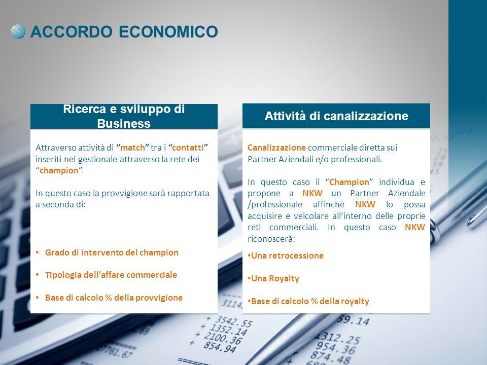 ACCORDO ECONOMICO Ricerca e sviluppo di Business Attività di canalizzazione Attraverso attività di match tra i contatti inseriti nel gestionale attraverso la rete deichampion.