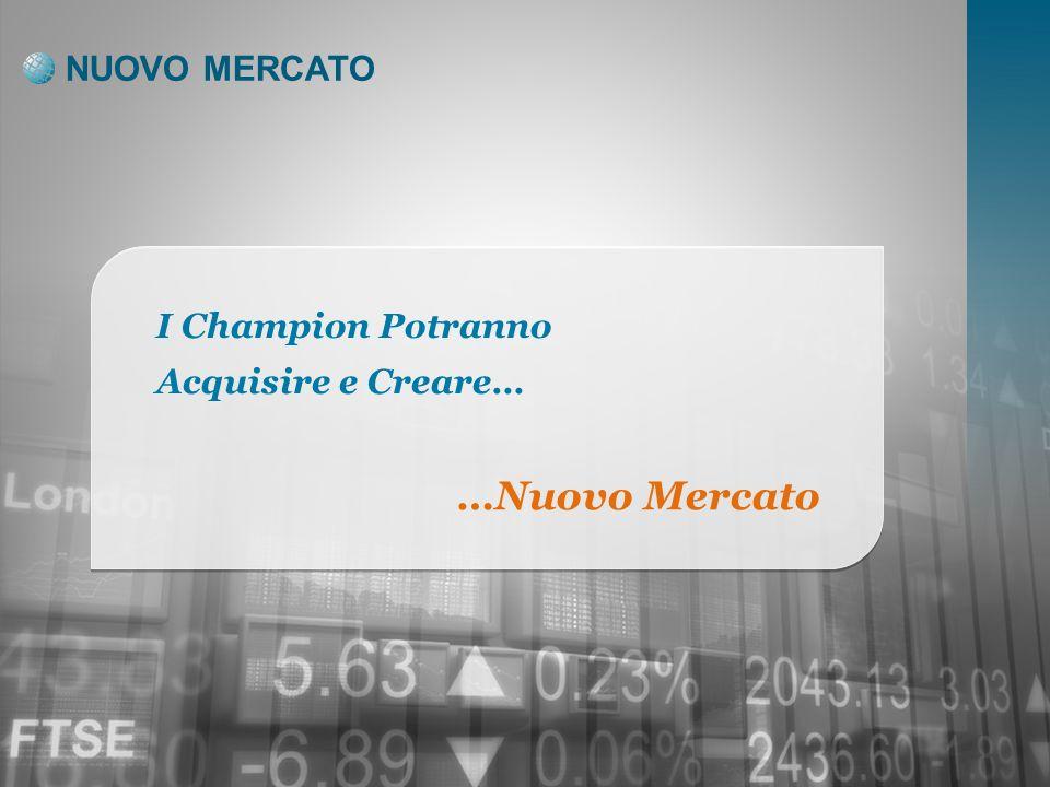 NUOVO MERCATO I Champion Potranno Acquisire e Creare… …Nuovo Mercato