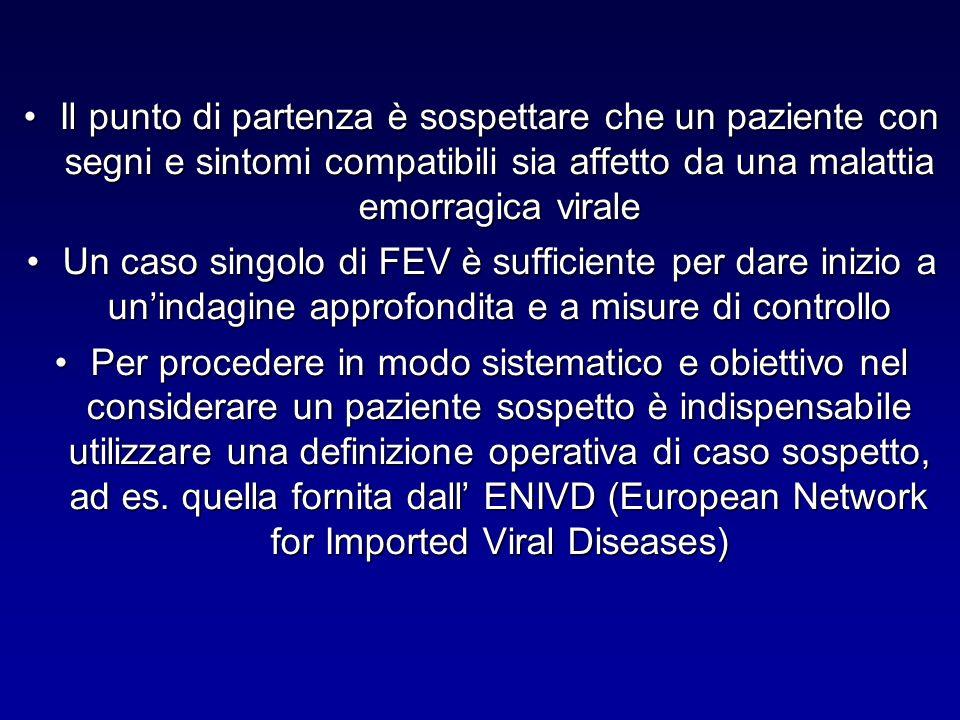 Il punto di partenza è sospettare che un paziente con segni e sintomi compatibili sia affetto da una malattia emorragica viraleIl punto di partenza è