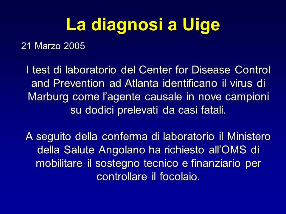 La diagnosi a Uige 21 Marzo 2005 21 Marzo 2005 I test di laboratorio del Center for Disease Control and Prevention ad Atlanta identificano il virus di