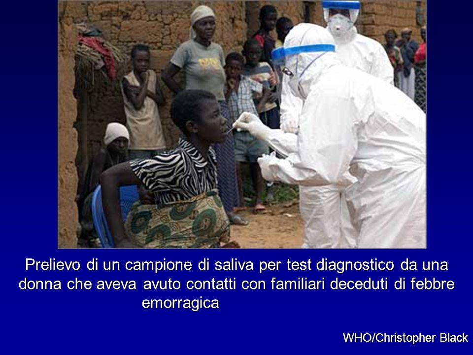 Prelievo di un campione di saliva per test diagnostico da una donna che aveva avuto contatti con familiari deceduti di febbre emorragica WHO/Christoph