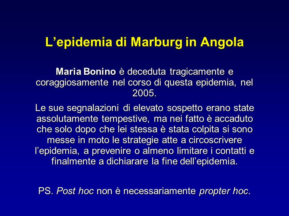 Lepidemia di Marburg in Angola Maria Bonino è deceduta tragicamente e coraggiosamente nel corso di questa epidemia, nel 2005. Le sue segnalazioni di e