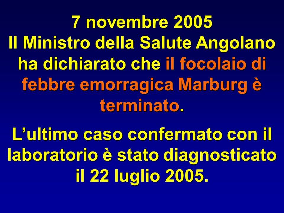 7 novembre 2005 Il Ministro della Salute Angolano ha dichiarato che il focolaio di febbre emorragica Marburg è terminato. Lultimo caso confermato con