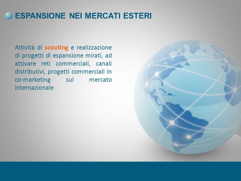 ESPANSIONE NEI MERCATI ESTERI Attività di scouting e realizzazione di progetti di espansione mirati, ad attivare reti commerciali, canali distributivi