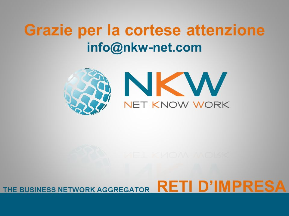 Grazie per la cortese attenzione info@nkw-net.com THE BUSINESS NETWORK AGGREGATOR RETI DIMPRESA